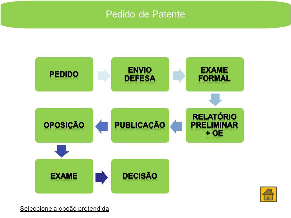 O Percurso do Pedido Patente Modelo de Utilidade Pedido Provisório Seleccione a opção pretendida