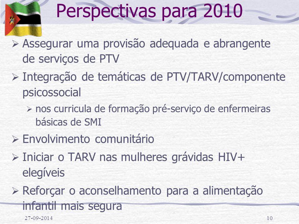 27-09-201410 Perspectivas para 2010  Assegurar uma provisão adequada e abrangente de serviços de PTV  Integração de temáticas de PTV/TARV/componente psicossocial  nos curricula de formação pré-serviço de enfermeiras básicas de SMI  Envolvimento comunitário  Iniciar o TARV nas mulheres grávidas HIV+ elegíveis  Reforçar o aconselhamento para a alimentação infantil mais segura