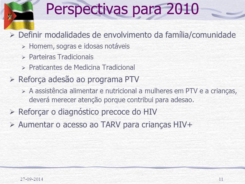 27-09-201411 Perspectivas para 2010  Definir modalidades de envolvimento da família/comunidade  Homem, sogras e idosas notáveis  Parteiras Tradicio