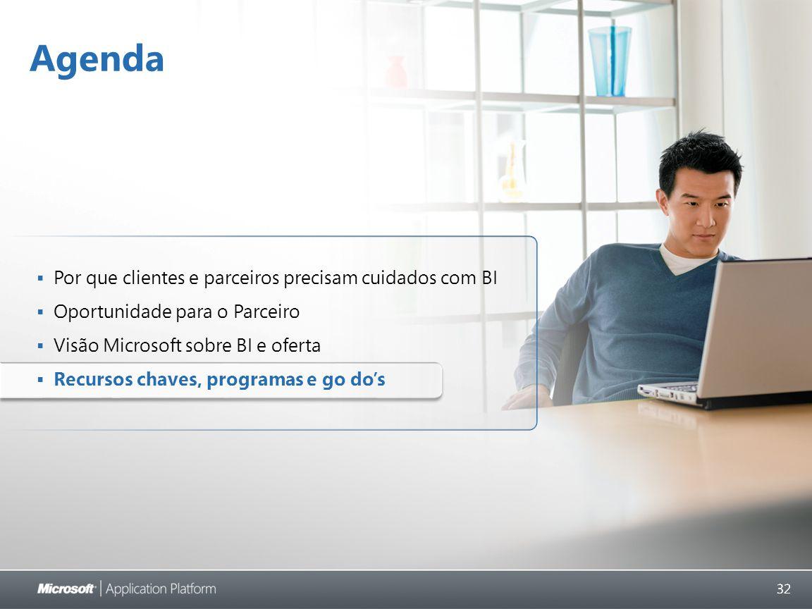 32 Agenda  Por que clientes e parceiros precisam cuidados com BI  Oportunidade para o Parceiro  Visão Microsoft sobre BI e oferta  Recursos chaves, programas e go do's