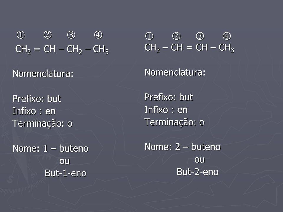       CH 2 = CH – CH 2 – CH 3 CH 2 = CH – CH 2 – CH 3Nomenclatura: Prefixo: but Infixo : en Terminação: o Nome: 1 – buteno ou ou But-1-eno But-1
