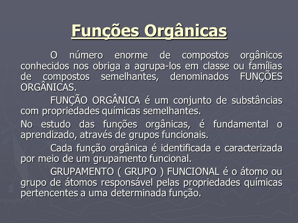 Funções Orgânicas O número enorme de compostos orgânicos conhecidos nos obriga a agrupa-los em classe ou famílias de compostos semelhantes, denominado