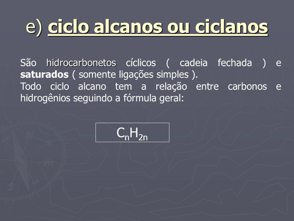 e) ciclo alcanos ou ciclanos hidrocarbonetos São hidrocarbonetos cíclicos ( cadeia fechada ) e saturados ( somente ligações simples ). Todo ciclo alca