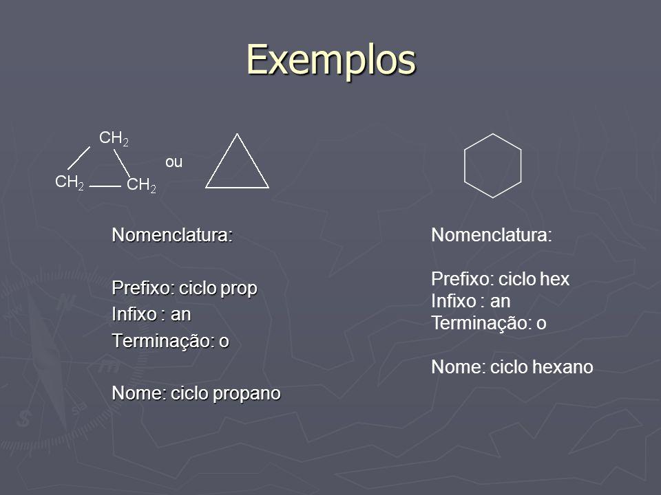 Exemplos Nomenclatura: Prefixo: ciclo prop Infixo : an Terminação: o Nome: ciclo propano Nomenclatura: Prefixo: ciclo hex Infixo : an Terminação: o No