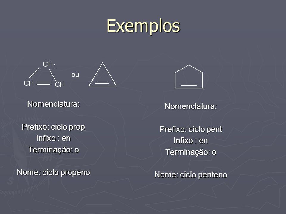 Exemplos Nomenclatura: Prefixo: ciclo prop Infixo : en Terminação: o Nome: ciclo propeno Nomenclatura: Prefixo: ciclo pent Infixo : en Terminação: o N