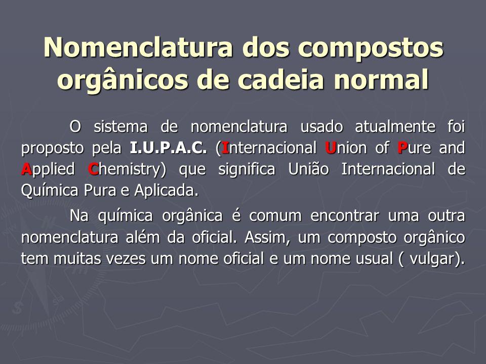 Nomenclatura dos compostos orgânicos de cadeia normal O sistema de nomenclatura usado atualmente foi proposto pela I.U.P.A.C. (Internacional Union of