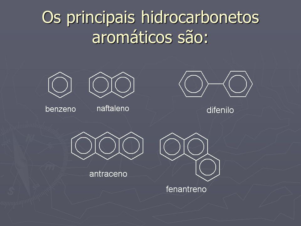 Os principais hidrocarbonetos aromáticos são: