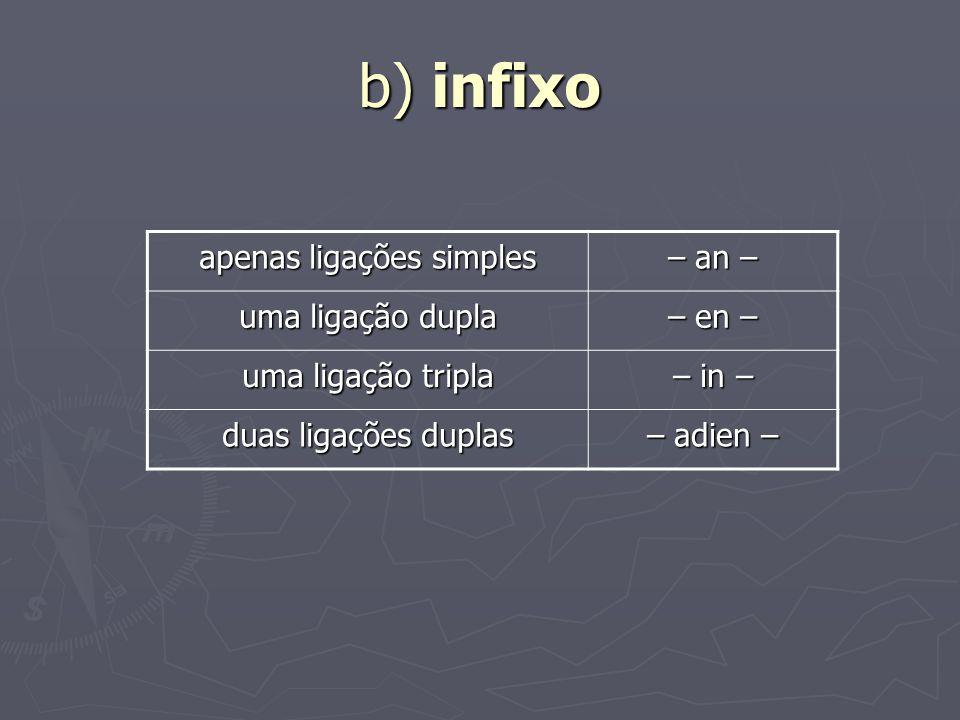 b) infixo apenas ligações simples – an – uma ligação dupla – en – uma ligação tripla – in – duas ligações duplas – adien –