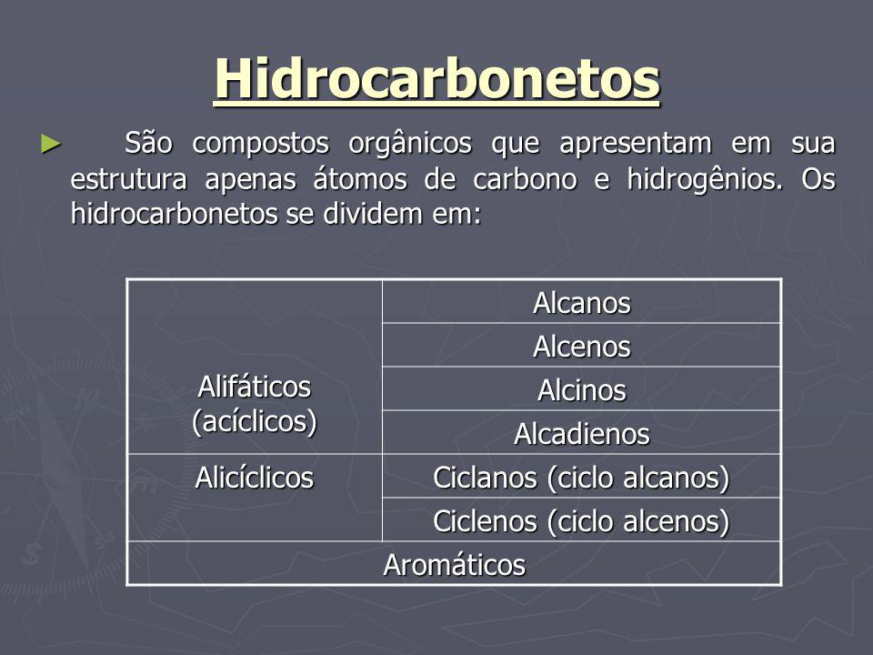 g) hidrocarbonetos aromáticos São hidrocarbonetos cíclicos ( cadeia fechada) que apresentam pelo menos um anel aromático ou núcleo benzênico ( ciclo formados por seis átomos de carbono, insaturados com três ligações duplas intercaladas com ligações simples ).