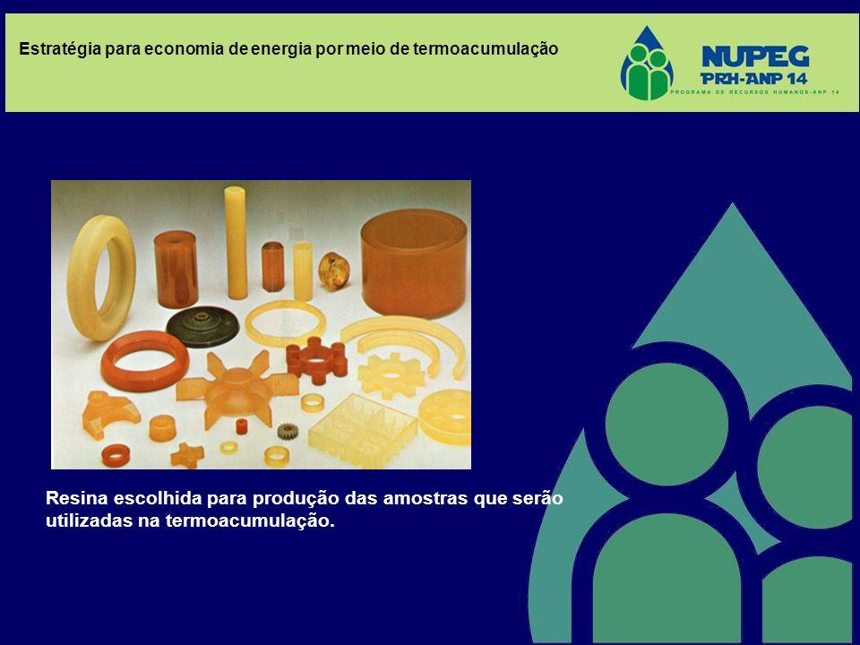 Resina escolhida para produção das amostras que serão utilizadas na termoacumulação.