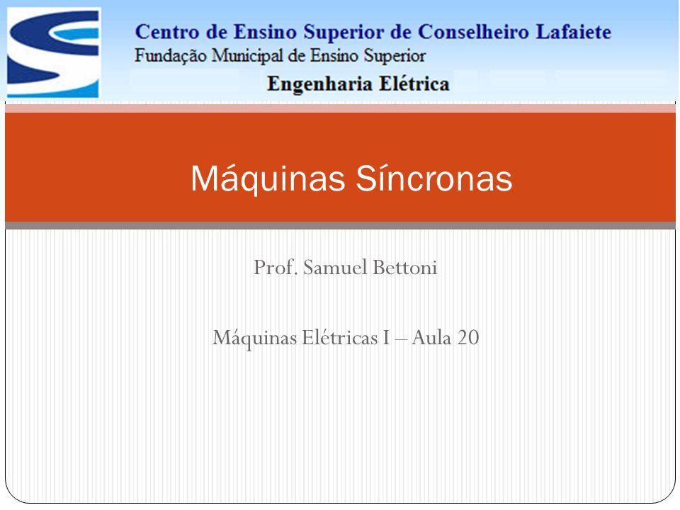 Prof. Samuel Bettoni Máquinas Elétricas I – Aula 20 Máquinas Síncronas