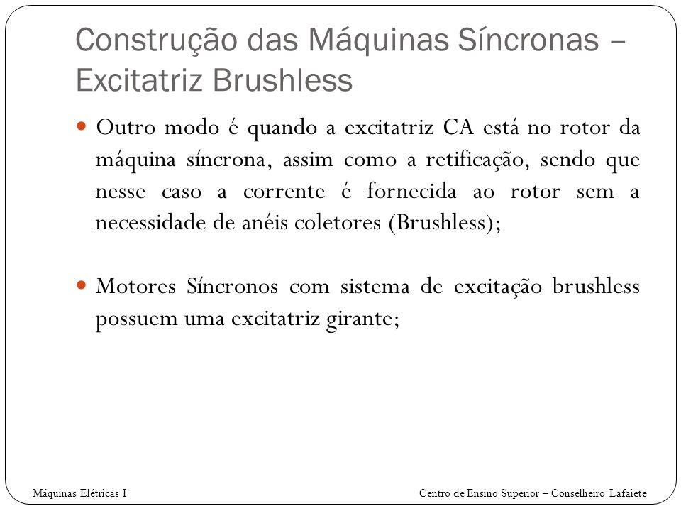 Construção das Máquinas Síncronas – Excitatriz Brushless Outro modo é quando a excitatriz CA está no rotor da máquina síncrona, assim como a retificaç