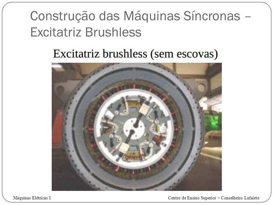 Construção das Máquinas Síncronas – Excitatriz Brushless Máquinas Elétricas I Centro de Ensino Superior – Conselheiro Lafaiete