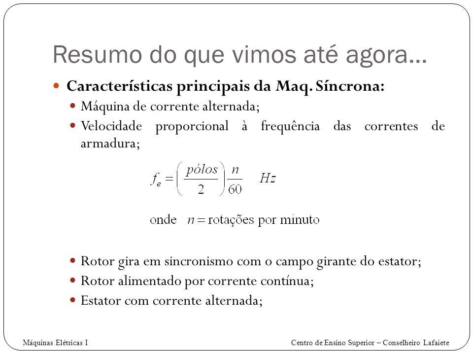 Características principais da Maq. Síncrona: Máquina de corrente alternada; Velocidade proporcional à frequência das correntes de armadura; Rotor gira