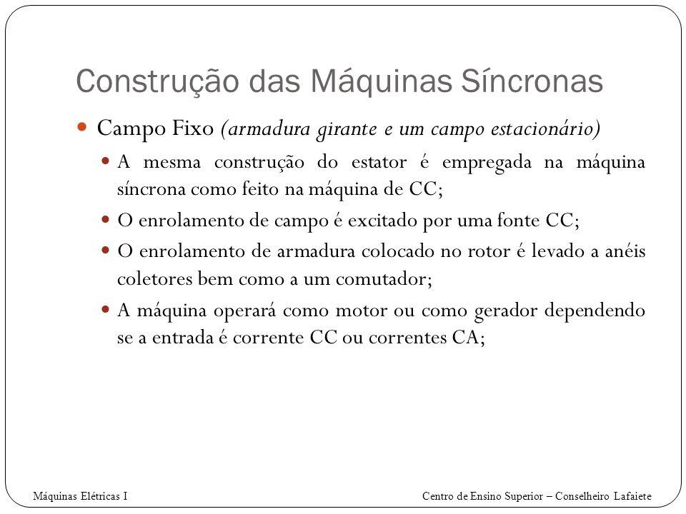 Construção das Máquinas Síncronas Campo Fixo (armadura girante e um campo estacionário) A mesma construção do estator é empregada na máquina síncrona