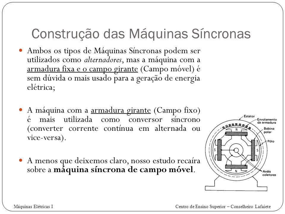 Construção das Máquinas Síncronas Ambos os tipos de Máquinas Síncronas podem ser utilizados como alternadores, mas a máquina com a armadura fixa e o c