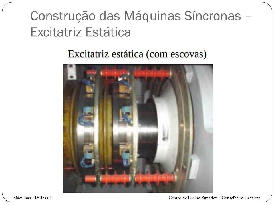 Construção das Máquinas Síncronas – Excitatriz Estática Máquinas Elétricas I Centro de Ensino Superior – Conselheiro Lafaiete