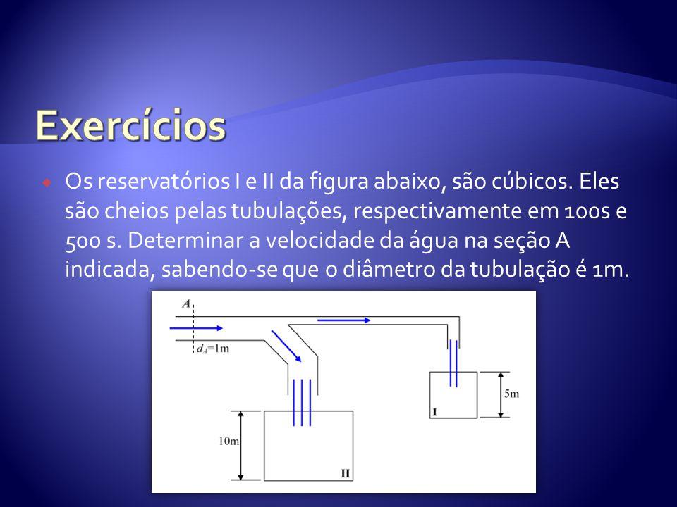  Os reservatórios I e II da figura abaixo, são cúbicos. Eles são cheios pelas tubulações, respectivamente em 100s e 500 s. Determinar a velocidade da