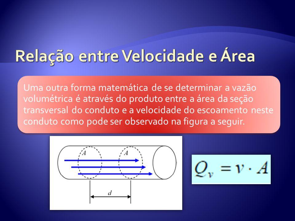 Uma outra forma matemática de se determinar a vazão volumétrica é através do produto entre a área da seção transversal do conduto e a velocidade do es