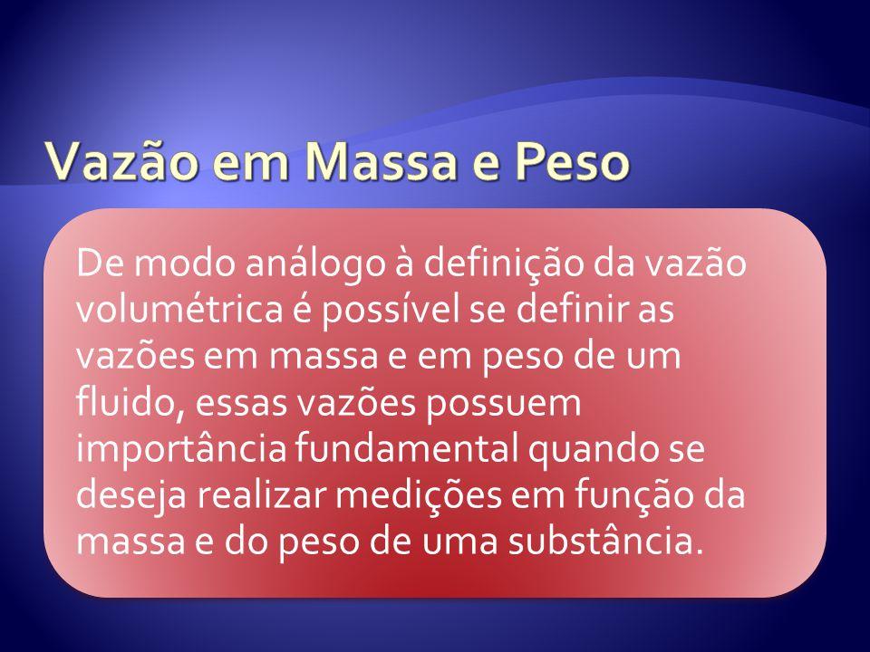 Vazão em Massa: A vazão em massa é caracterizada pela massa do fluido que escoa em um determinado intervalo de tempo, dessa forma tem-se que: