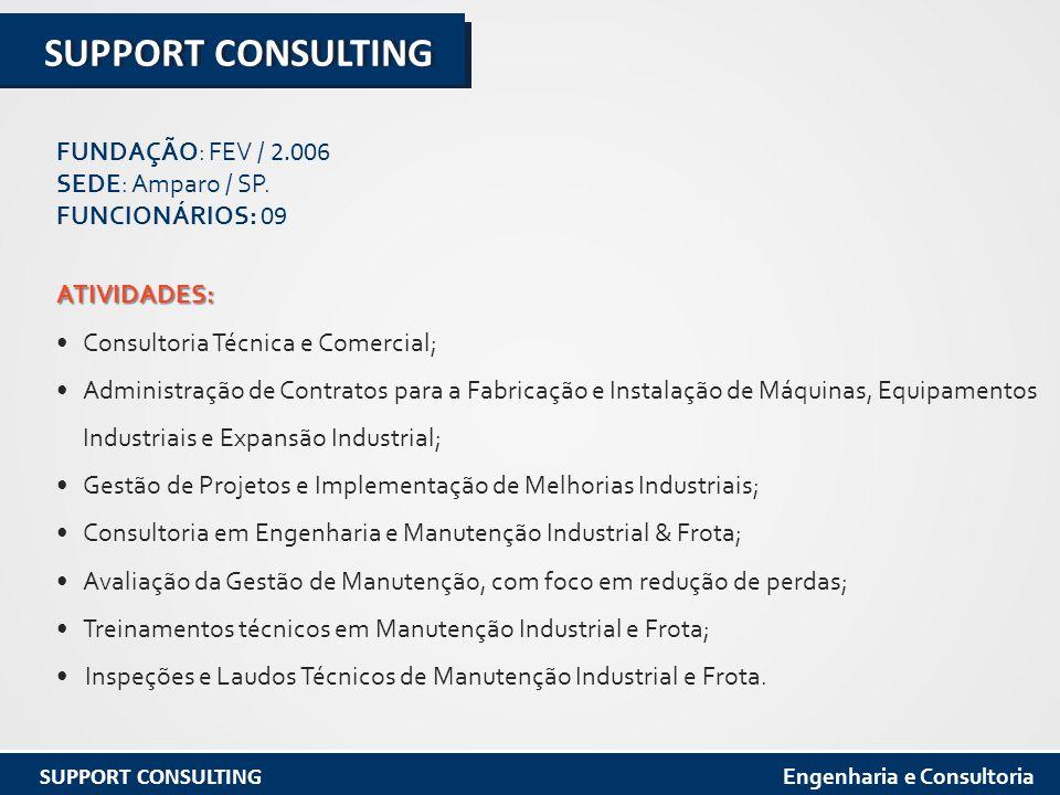 ATIVIDADES: Consultoria Técnica e Comercial; Administração de Contratos para a Fabricação e Instalação de Máquinas, Equipamentos Industriais e Expansão Industrial; Gestão de Projetos e Implementação de Melhorias Industriais; Consultoria em Engenharia e Manutenção Industrial & Frota; Avaliação da Gestão de Manutenção, com foco em redução de perdas; Treinamentos técnicos em Manutenção Industrial e Frota; Inspeções e Laudos Técnicos de Manutenção Industrial e Frota.