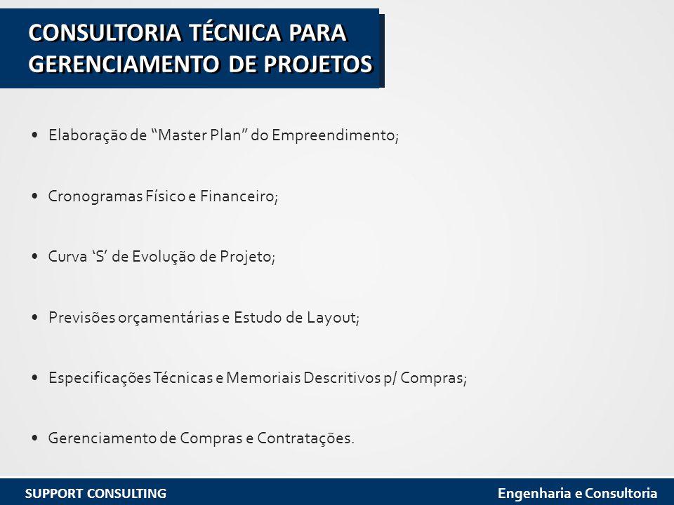 Elaboração de Master Plan do Empreendimento; Cronogramas Físico e Financeiro; Curva 'S' de Evolução de Projeto; Previsões orçamentárias e Estudo de Layout; Especificações Técnicas e Memoriais Descritivos p/ Compras; Gerenciamento de Compras e Contratações.