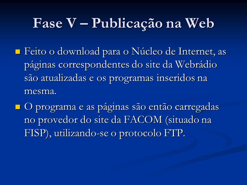 Fase V – Publicação na Web Feito o download para o Núcleo de Internet, as páginas correspondentes do site da Webrádio são atualizadas e os programas inseridos na mesma.