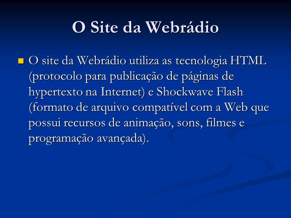 O Site da Webrádio O site da Webrádio utiliza as tecnologia HTML (protocolo para publicação de páginas de hypertexto na Internet) e Shockwave Flash (formato de arquivo compatível com a Web que possui recursos de animação, sons, filmes e programação avançada).