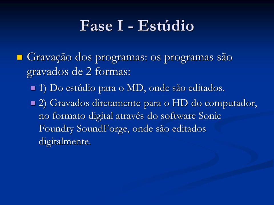Fase I - Estúdio Gravação dos programas: os programas são gravados de 2 formas: Gravação dos programas: os programas são gravados de 2 formas: 1) Do estúdio para o MD, onde são editados.