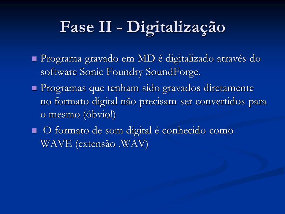 Fase II - Digitalização Programa gravado em MD é digitalizado através do software Sonic Foundry SoundForge.