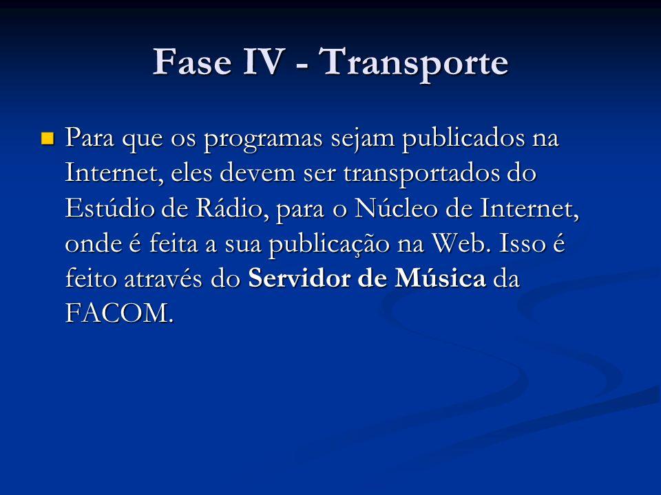 Fase IV - Transporte Para que os programas sejam publicados na Internet, eles devem ser transportados do Estúdio de Rádio, para o Núcleo de Internet, onde é feita a sua publicação na Web.