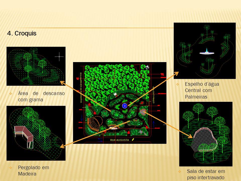 4. Croquis  Área de descanso com grama  Pergolado em Madeira  Sala de estar em piso intertravado  Espelho d'água Central com Palmeiras