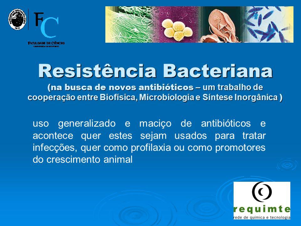 Paula Gameiro Resistência Bacteriana (na busca de novos antibióticos – um trabalho de cooperação entre Biofísica, Microbiologia e Síntese Inorgânica ) uso generalizado e maciço de antibióticos e acontece quer estes sejam usados para tratar infecções, quer como profilaxia ou como promotores do crescimento animal