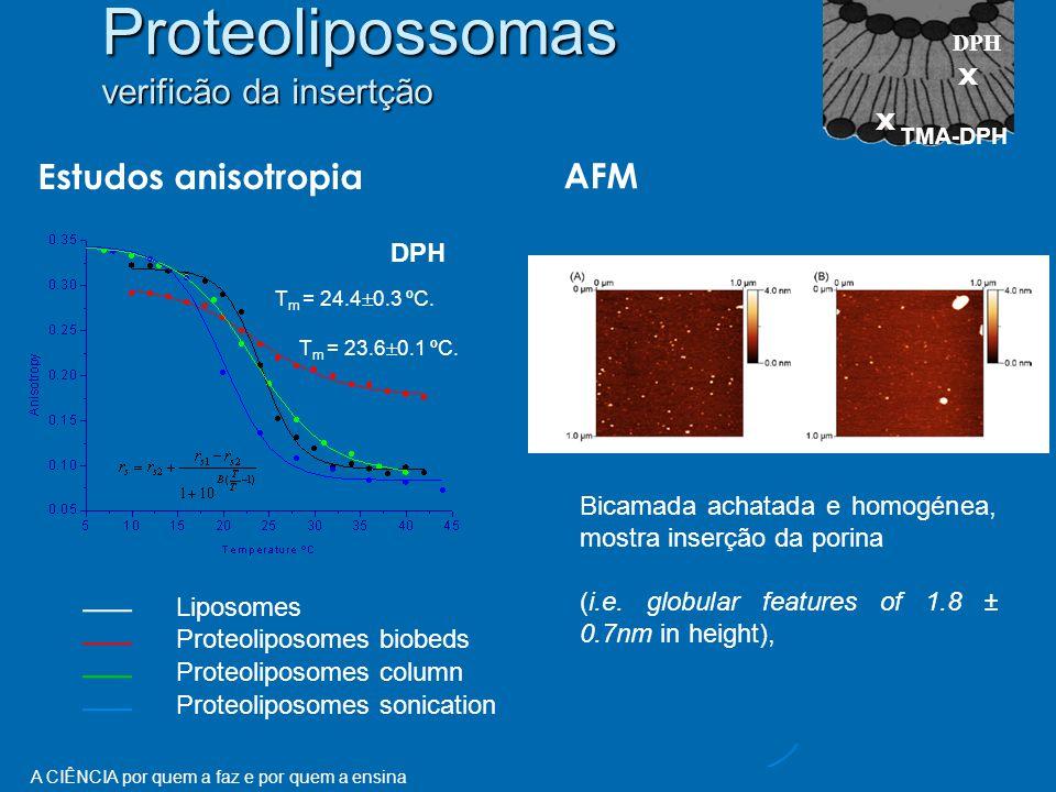 A CIÊNCIA por quem a faz e por quem a ensina Estudos anisotropia DPH Liposomes Proteoliposomes biobeds Proteoliposomes column Proteoliposomes sonication T m = 24.4  0.3 ºC.