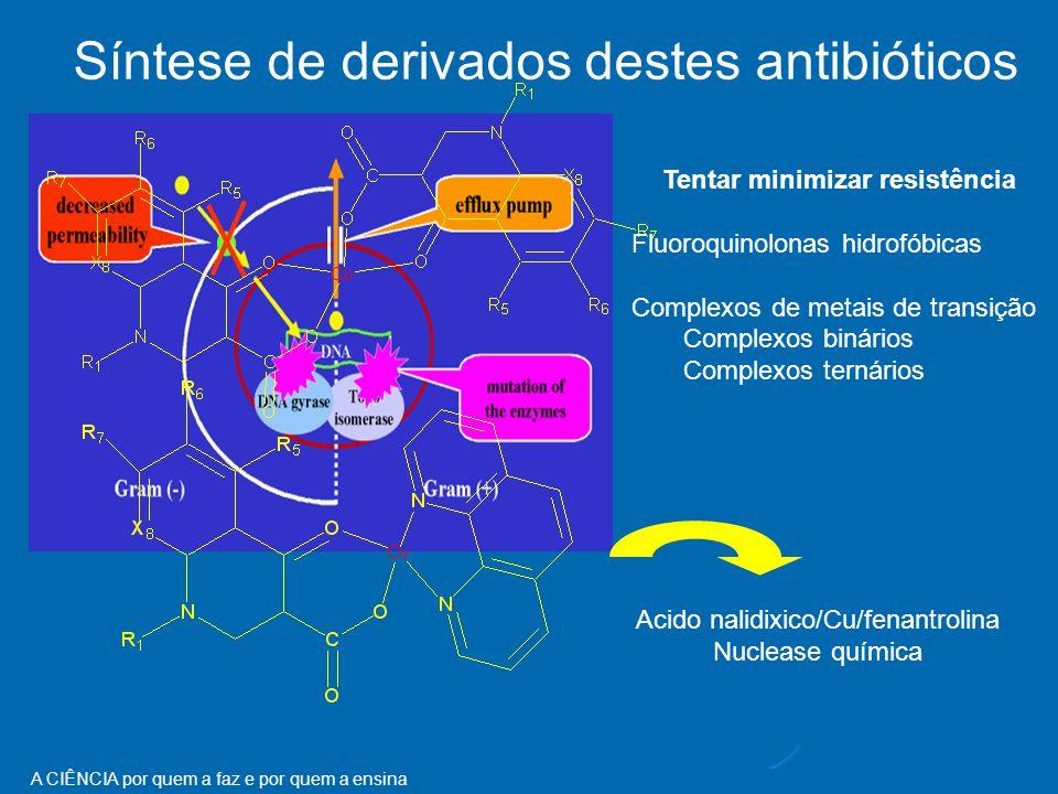 A CIÊNCIA por quem a faz e por quem a ensina RESISTENCE TO FLUOROQUINOLONES Tentar minimizar resistência Fluoroquinolonas hidrofóbicas Complexos de metais de transição Complexos binários Complexos ternários Acido nalidixico/Cu/fenantrolina Nuclease química Síntese de derivados destes antibióticos
