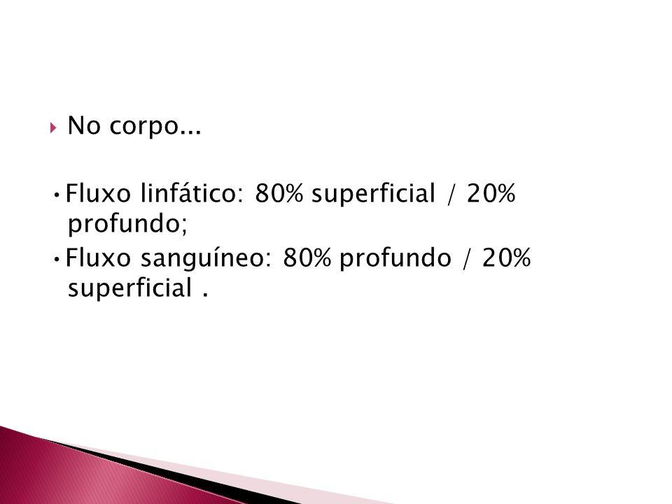 No corpo... Fluxo linfático: 80% superficial / 20% profundo; Fluxo sanguíneo: 80% profundo / 20% superficial.