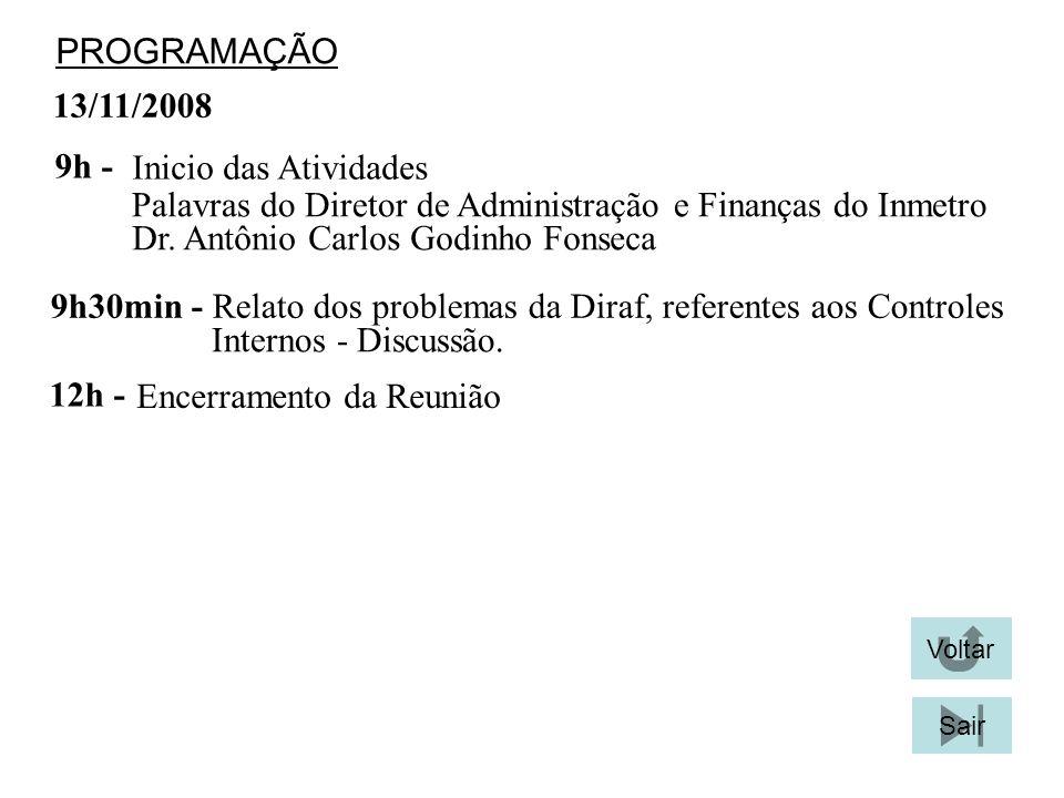 13/11/2008 PROGRAMAÇÃO Inicio das Atividades 9h - Palavras do Diretor de Administração e Finanças do Inmetro 9h30min - Relato dos problemas da Diraf, referentes aos Controles Internos - Discussão.