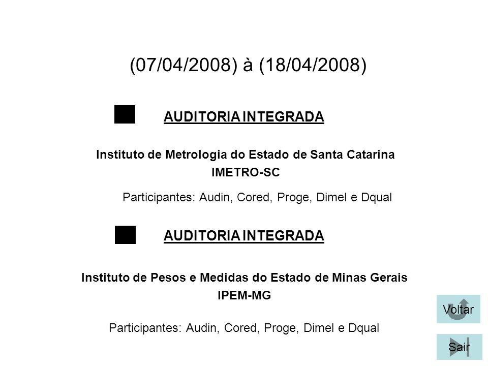 (07/04/2008) à (18/04/2008) Participantes: Audin, Cored, Proge, Dimel e Dqual AUDITORIA INTEGRADA Voltar Instituto de Metrologia do Estado de Santa Catarina IMETRO-SC Sair Instituto de Pesos e Medidas do Estado de Minas Gerais IPEM-MG AUDITORIA INTEGRADA Participantes: Audin, Cored, Proge, Dimel e Dqual