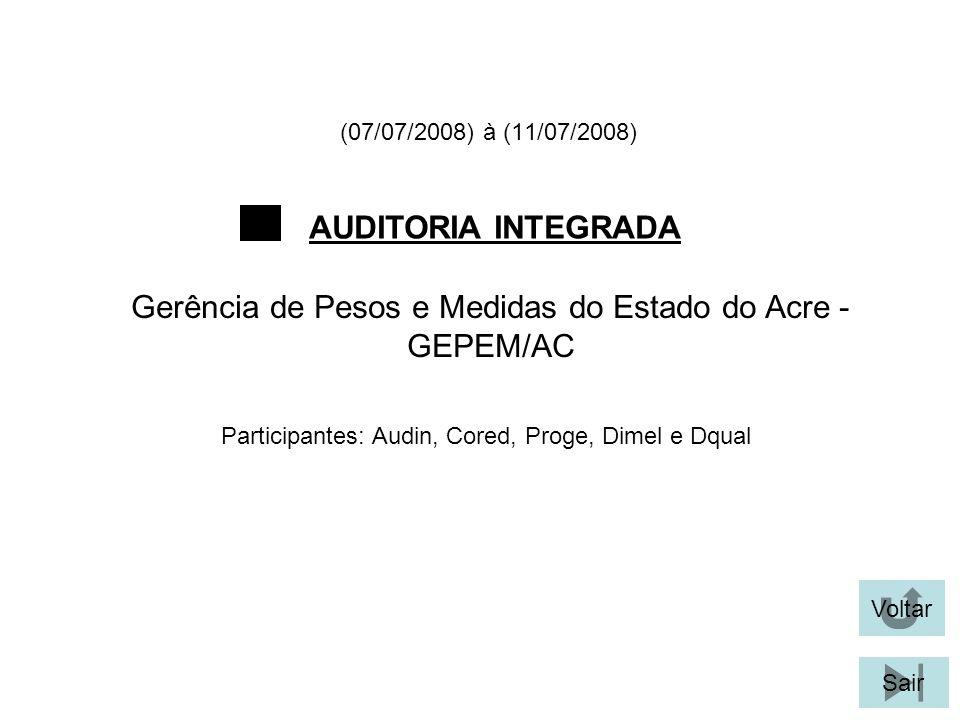 (07/07/2008) à (11/07/2008) AUDITORIA INTEGRADA Voltar Gerência de Pesos e Medidas do Estado do Acre - GEPEM/AC Sair Participantes: Audin, Cored, Proge, Dimel e Dqual