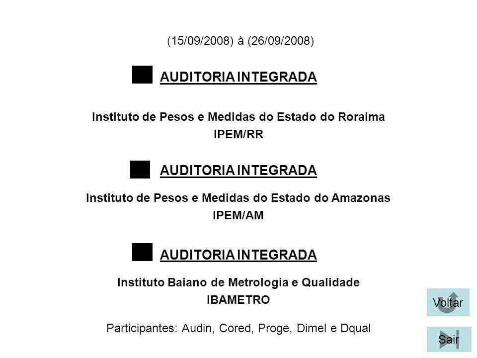 (15/09/2008) à (26/09/2008) Participantes: Audin, Cored, Proge, Dimel e Dqual AUDITORIA INTEGRADA Instituto de Pesos e Medidas do Estado do Roraima IPEM/RR Voltar Sair Instituto de Pesos e Medidas do Estado do Amazonas IPEM/AM Instituto Baiano de Metrologia e Qualidade IBAMETRO AUDITORIA INTEGRADA