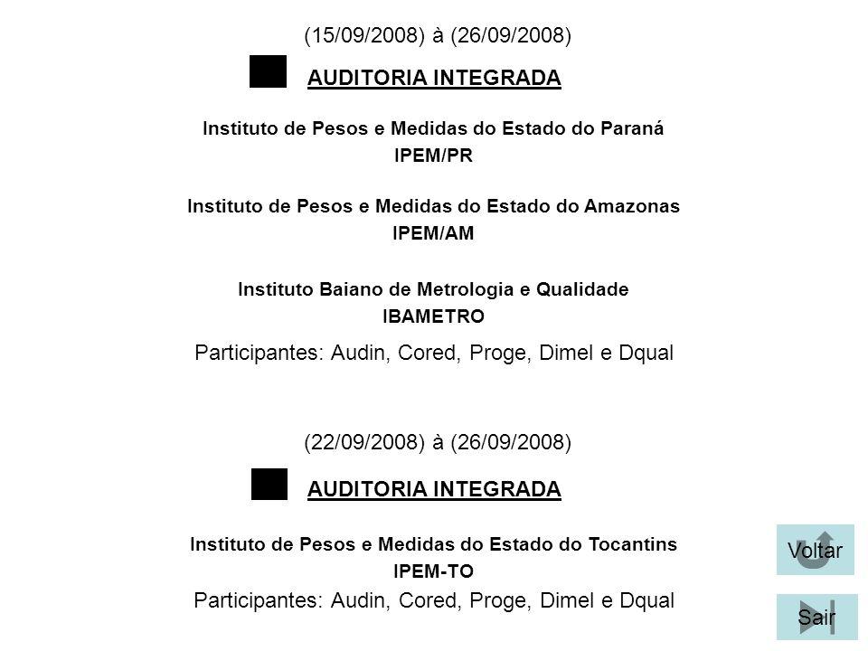 (22/09/2008) à (26/09/2008) Participantes: Audin, Cored, Proge, Dimel e Dqual AUDITORIA INTEGRADA Instituto de Pesos e Medidas do Estado do Paraná IPEM/PR Voltar Sair Instituto de Pesos e Medidas do Estado do Amazonas IPEM/AM Instituto Baiano de Metrologia e Qualidade IBAMETRO (15/09/2008) à (26/09/2008) AUDITORIA INTEGRADA Instituto de Pesos e Medidas do Estado do Tocantins IPEM-TO Participantes: Audin, Cored, Proge, Dimel e Dqual