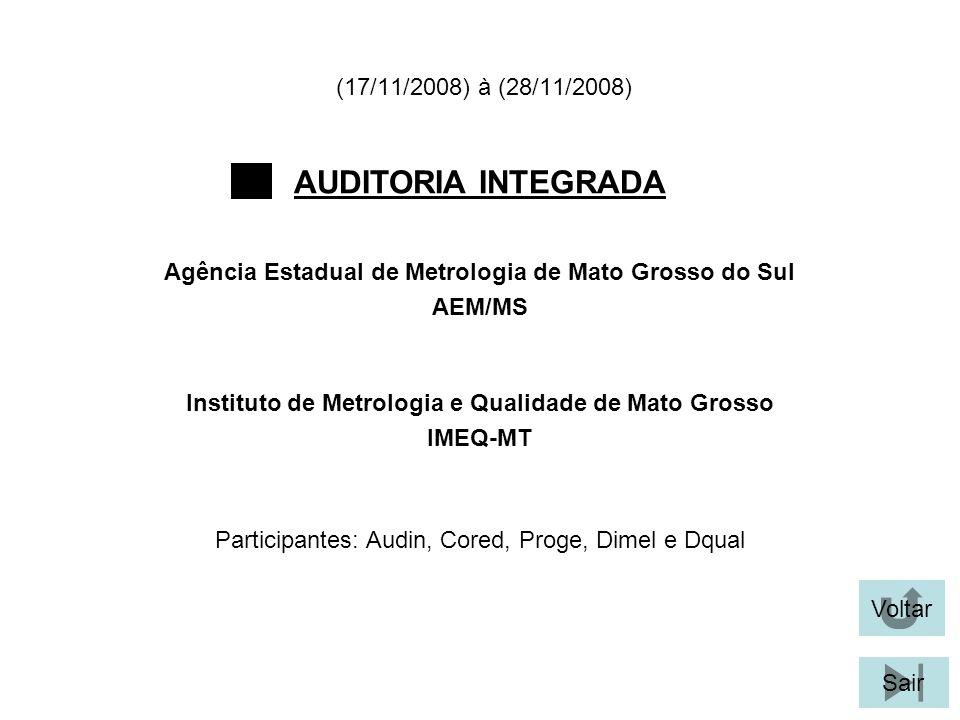 Voltar Sair AUDITORIA INTEGRADA Participantes: Audin, Cored, Proge, Dimel e Dqual Instituto de Metrologia e Qualidade de Mato Grosso IMEQ-MT Agência Estadual de Metrologia de Mato Grosso do Sul AEM/MS (17/11/2008) à (28/11/2008)