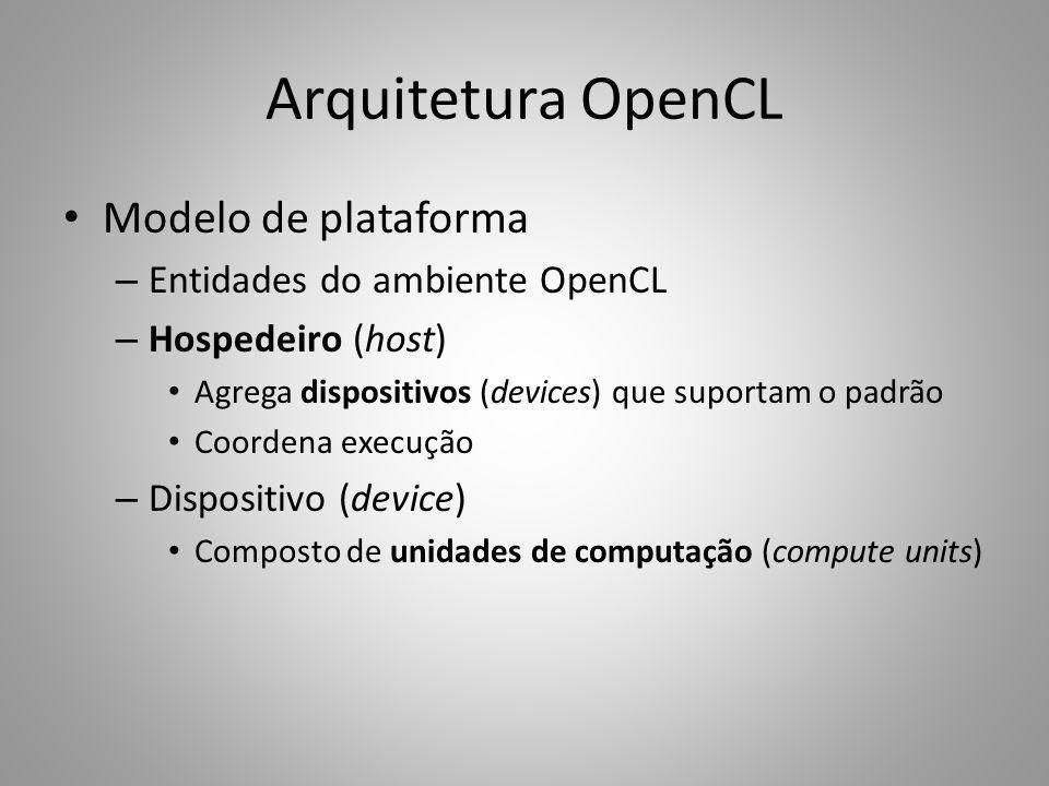 Arquitetura OpenCL Modelo de plataforma – Entidades do ambiente OpenCL – Hospedeiro (host) Agrega dispositivos (devices) que suportam o padrão Coorden