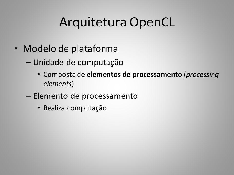 Arquitetura OpenCL Modelo de plataforma – Unidade de computação Composta de elementos de processamento (processing elements) – Elemento de processamen