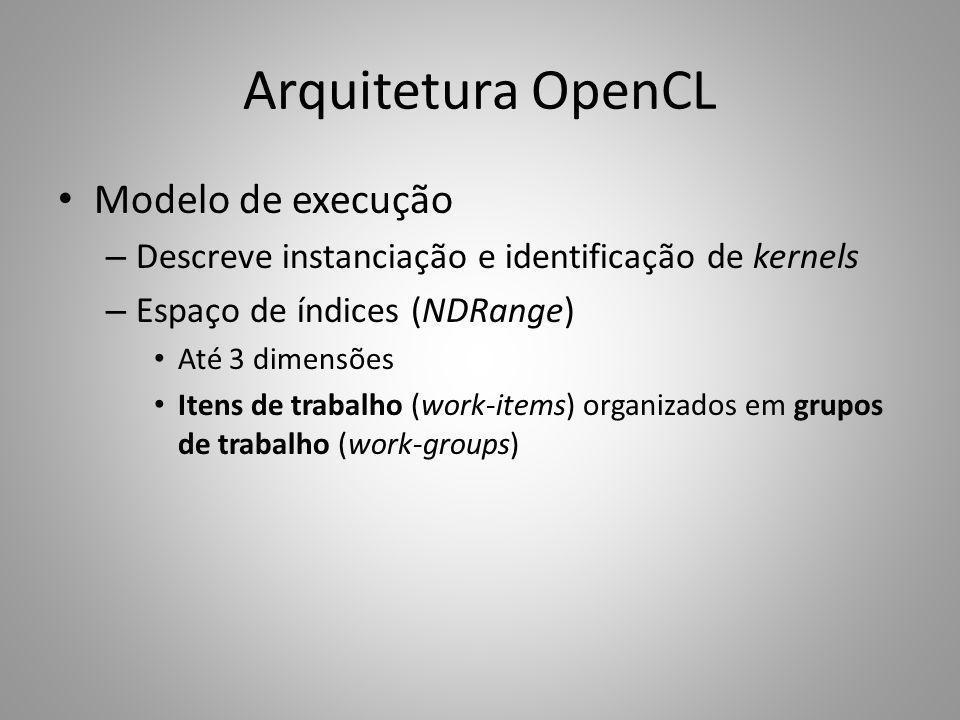 Modelo de execução – Descreve instanciação e identificação de kernels – Espaço de índices (NDRange) Até 3 dimensões Itens de trabalho (work-items) org
