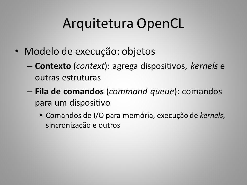 Modelo de execução: objetos – Contexto (context): agrega dispositivos, kernels e outras estruturas – Fila de comandos (command queue): comandos para u