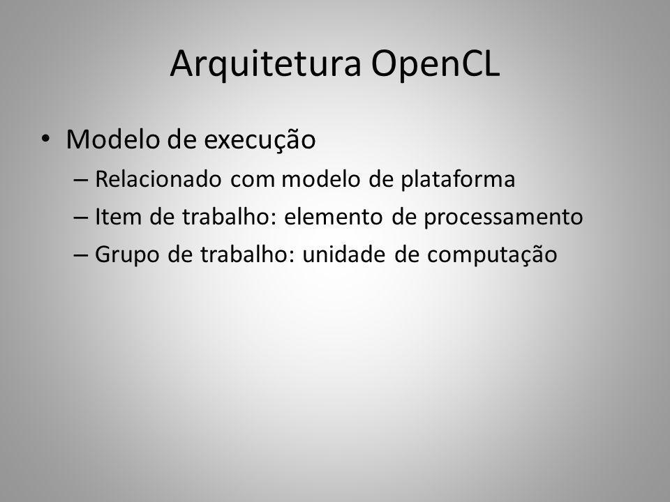 Arquitetura OpenCL Modelo de execução – Relacionado com modelo de plataforma – Item de trabalho: elemento de processamento – Grupo de trabalho: unidad