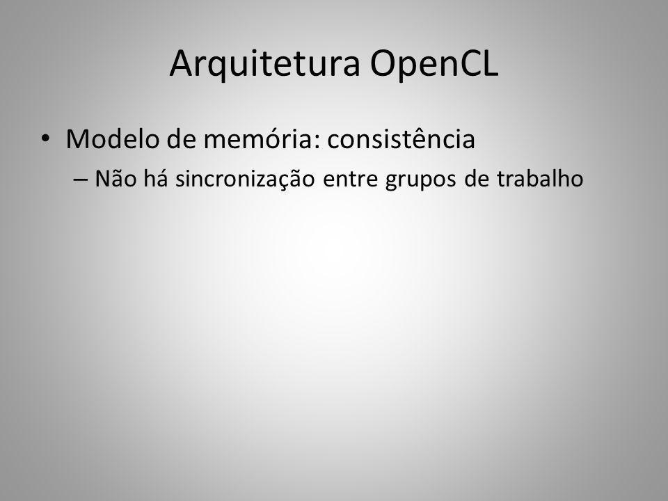 Arquitetura OpenCL Modelo de memória: consistência – Não há sincronização entre grupos de trabalho