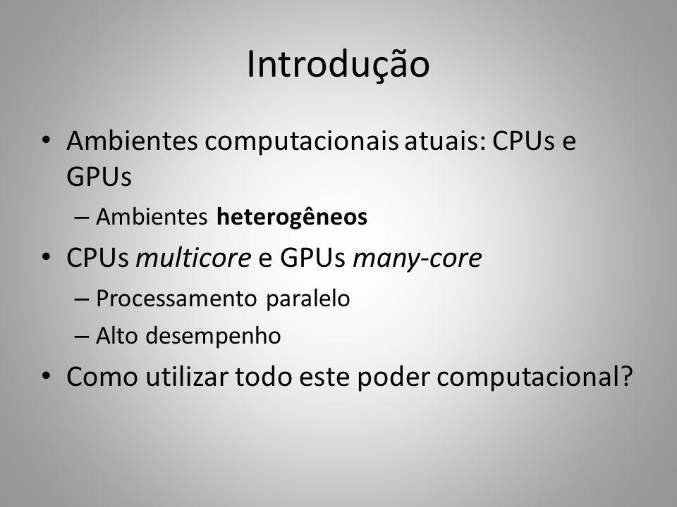Introdução Ambientes computacionais atuais: CPUs e GPUs – Ambientes heterogêneos CPUs multicore e GPUs many-core – Processamento paralelo – Alto desem