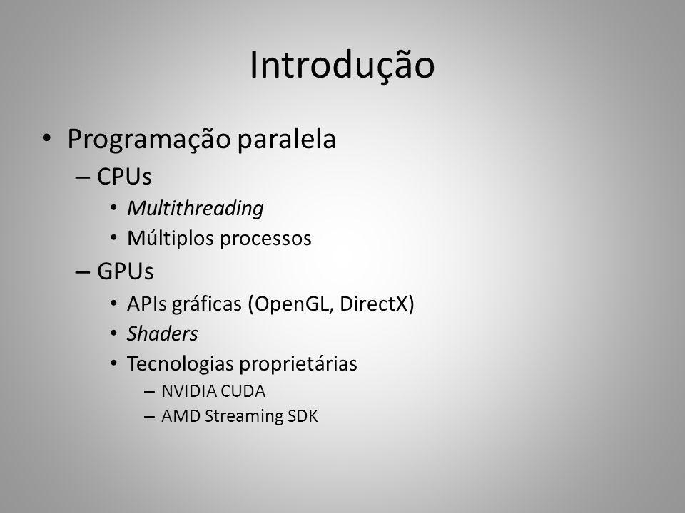 Introdução Programação paralela – CPUs Multithreading Múltiplos processos – GPUs APIs gráficas (OpenGL, DirectX) Shaders Tecnologias proprietárias – N